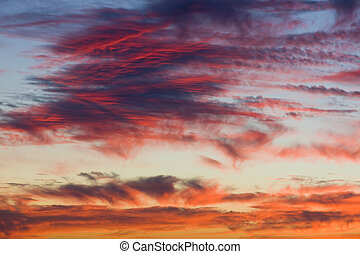 podczas, chmury, zachód słońca