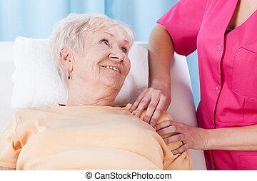 podczas, dama, rehabilitacja, starszy