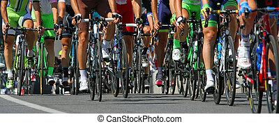 podczas, jazda, rowerzyści, międzynarodowy, prąd