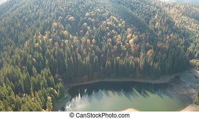 podczas, jezioro, góry, środek, jesień, cielna