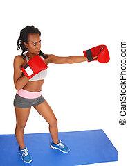 podczas, kobieta, boks, exercise.