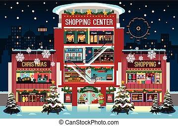 podczas, mall, zakupy, boże narodzenie, ilustracja