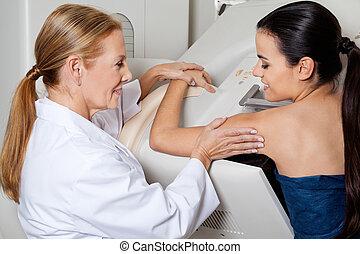 podczas, pomagając, pacjent, mammography, doktor