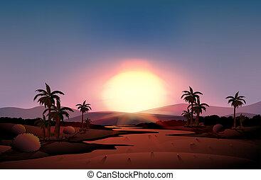 podczas, zachód słońca, pustynia, prospekt