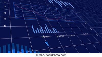 poddawanie procesowi, błękitny, dane, finansowy, tło, ...