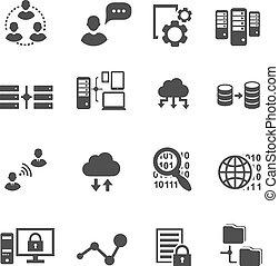 poddawanie procesowi, wektor, analytics, ikona, cyfrowy, wielka chmura, computing., komplet, dane