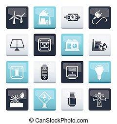 poder, ícones, electricidade, energia