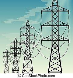 poder alto, linhas, despesas gerais, voltagem