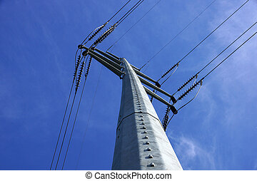 poder alto, metal, líneas, grande, poste, voltaje, ...