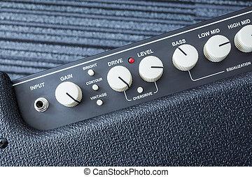 poder, amplificador, botão, guitarra, closeup, fundo, vista