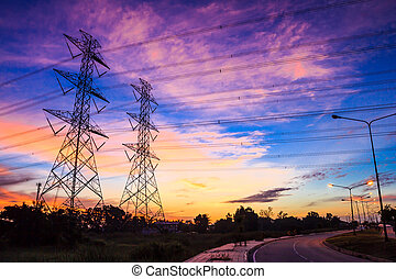 poder, anoitecer, electricidade, voltagem alta, pylon