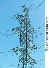 poder, apoio, linhas, insulators., alto, vidro, desenho, voltagem