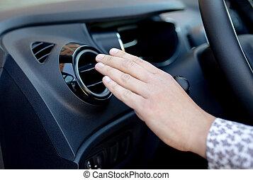 poder, car, modernos, motorista, detalhe, regulador, ...