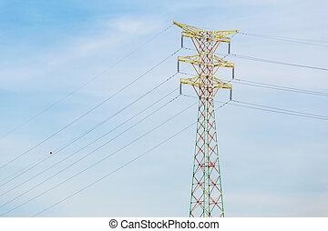 poder, distribuição, torre, cabo