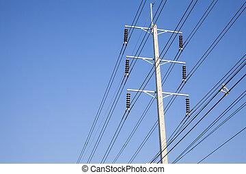 poder eléctrico, postes, en, el, electricidad, needed, a, potencia, un, eléctrico, pole.