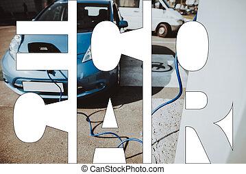 poder elétrico, eco, car, colagem, veículo, alternativa