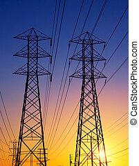 poder elétrico, transmissão, linhas