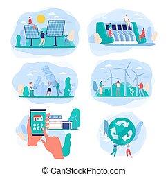 poder, energia, fontes, vetorial, ilustração, verde, elétrico