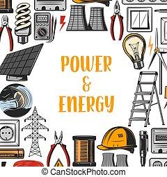 poder, energia, industrial, electricidade, vetorial