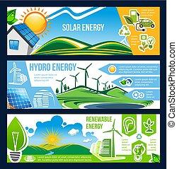 poder, energia, solar, verde, bandeira, vento, hydro