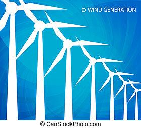 poder, energia, vetorial, verde, alternativa, vento