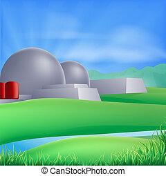 poder, ilustração, energia nuclear