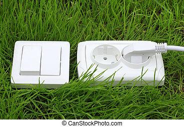 poder, interruptor claro, grama verde, receptáculo