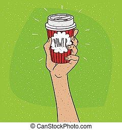 poder, ligado, copo de papel, de, café