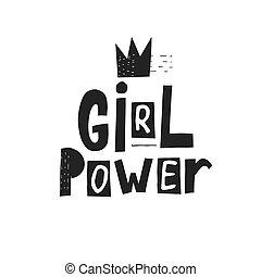 poder menina, camisa, citação, lettering