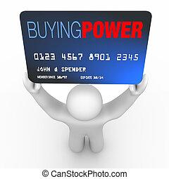 poder, pessoa, -, crédito, comprando, segurando, cartão