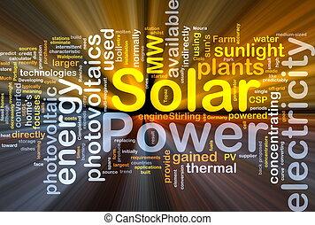 poder solar, fundo, conceito, glowing
