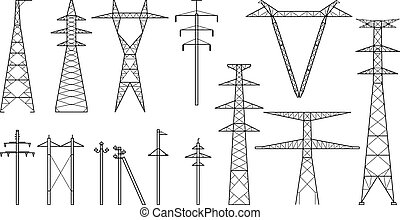 poder, tangent, voltagem, polos, transmissão, alto, pylons, torres, torres, linha, metal, elétrico, tipos