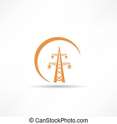 poder, torre transmissão, ícone