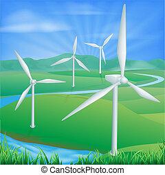 poder vento, energia, ilustração