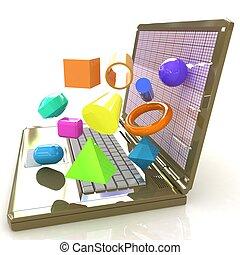 poderoso, gráficos, software, 3d, specially, laptop