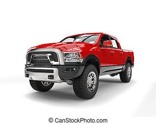 poderoso, modernos, caminhão pick-up, vermelho