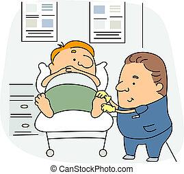 Podiatrist - Illustration of a Podiatrist at Work