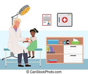 podiatrist, llaga, mano., habitación, brazo, s, vendas, médico, oficina., concepto, niña, paciente, ortopédico