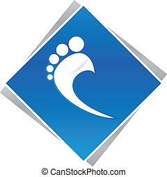 podiatrist, pé, azul, logotipo