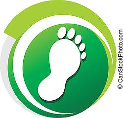 podiatrist, símbolo, verde