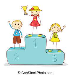 podio, bambini, vittoria