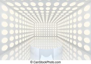 podio, blanco, habitación vacía
