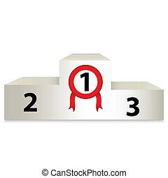 podio, blanco, ilustración, premio