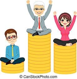 podio, concetto, affari, concorrenza, persone