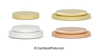 podio, conjunto, realista, pedestal, redondo, vector, ...