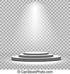 podio, etapa, proyectores, blanco, redondo, escénico, vector...