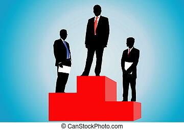 podio, hombres de negocios
