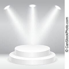 podio, illuminato, rotondo, palcoscenico