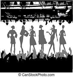 podio, moda, silhouette