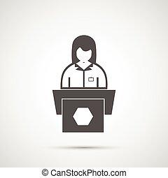 podio, mujer, atrás, icono